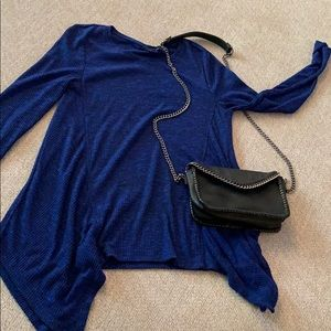 A.N.A blue long sleeve top and black crossbody